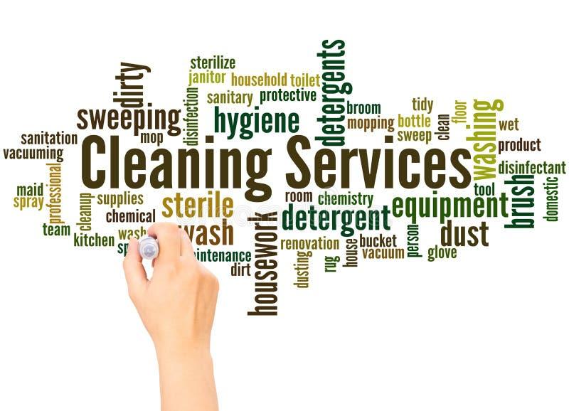 Καθαρίζοντας έννοια γραψίματος σύννεφων και χεριών λέξης υπηρεσιών στοκ φωτογραφία με δικαίωμα ελεύθερης χρήσης