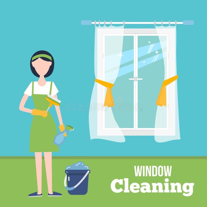 Καθαρίζοντας απεικόνιση έννοιας παραθύρων με τη νέα γυναίκα στα γάντια στο σπίτι Υπηρεσία οικοκυρικής με τις προμήθειες οικιακών διανυσματική απεικόνιση
