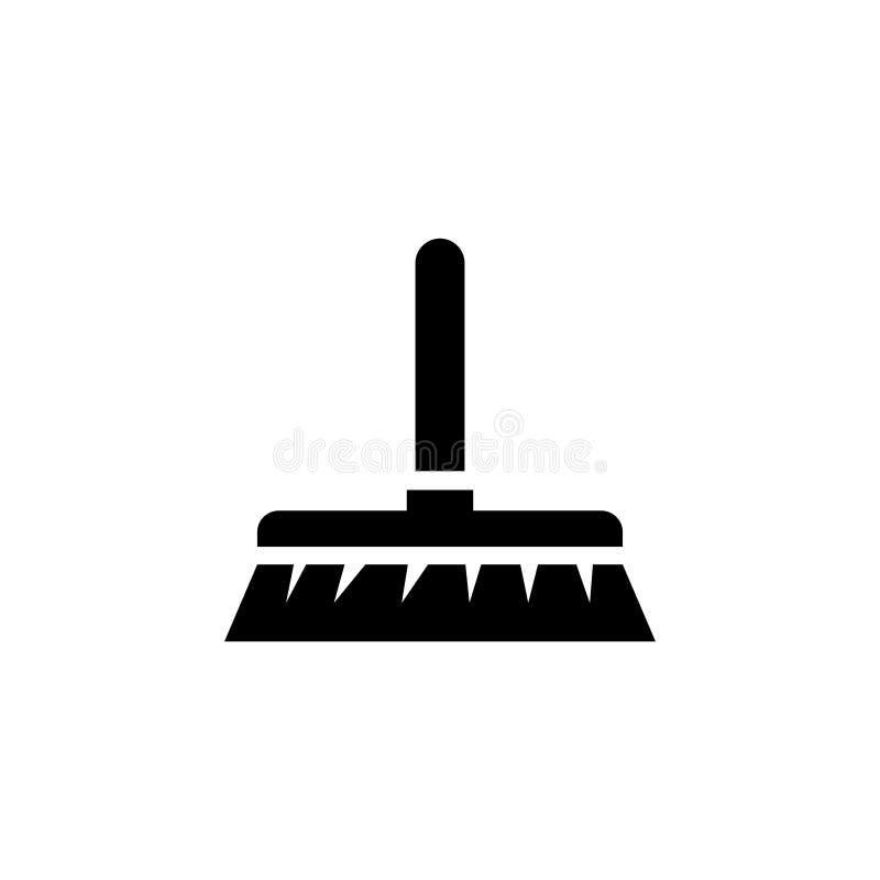 Καθαρίζοντας βούρτσα Επίπεδο διανυσματικό εικονίδιο σκουπών διανυσματική απεικόνιση
