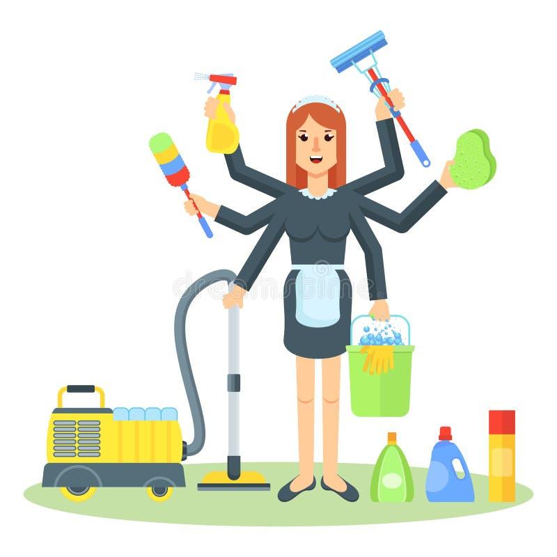 Καθαρίζοντας γυναίκα κοριτσιών υπηρεσιών απεικόνιση αποθεμάτων