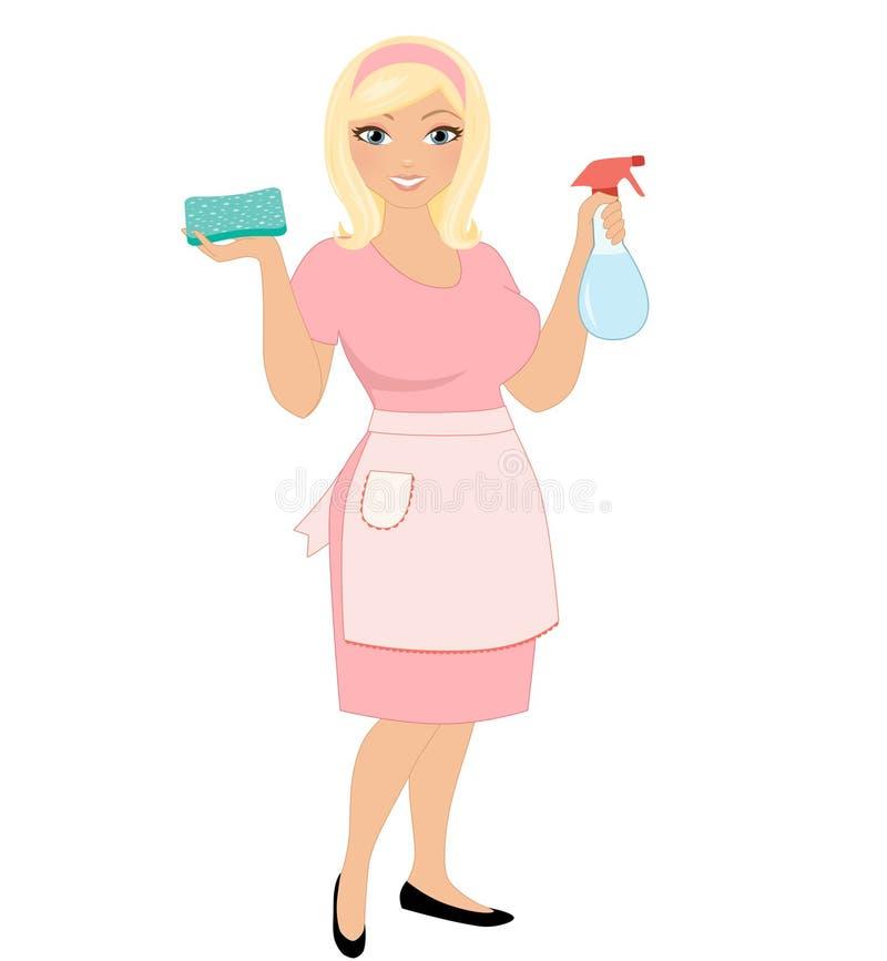 Καθαρίζοντας γυναίκα ελεύθερη απεικόνιση δικαιώματος