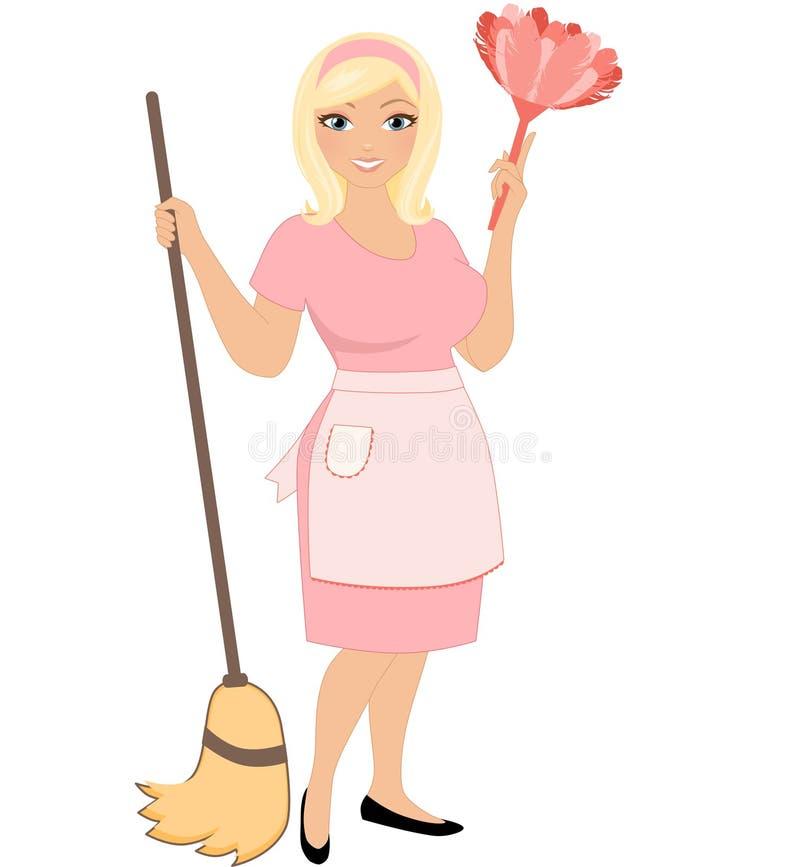 Καθαρίζοντας γυναίκα διανυσματική απεικόνιση