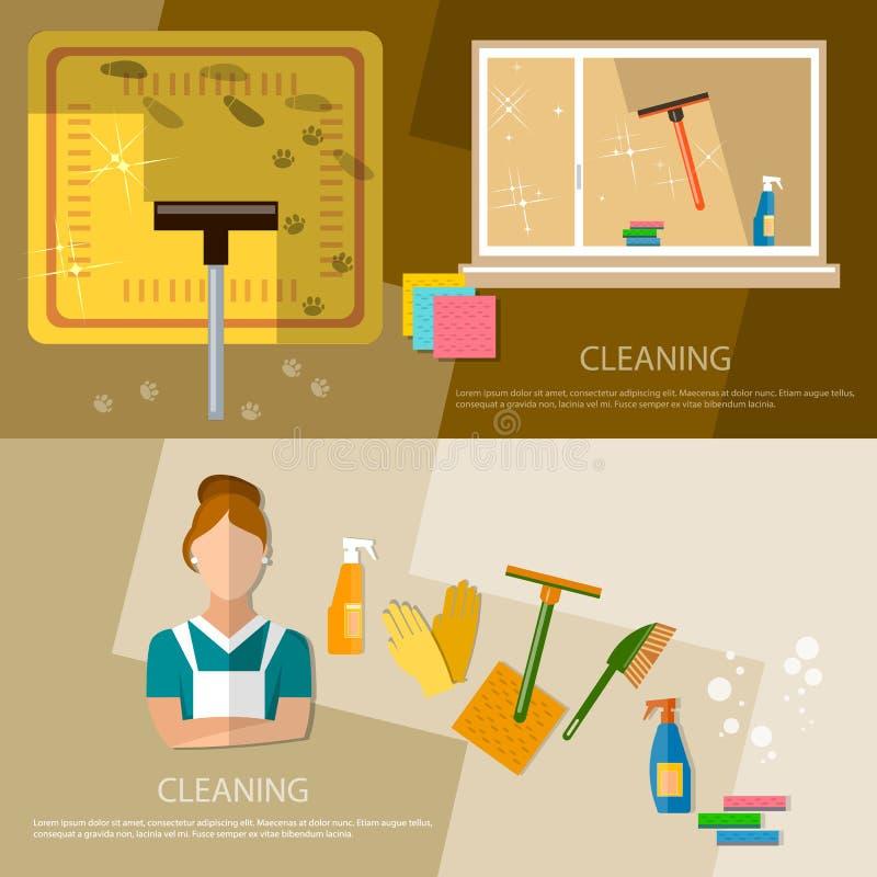 Καθαρίζοντας εγχώριος καθαρισμός εμβλημάτων προμηθειών υπηρεσιών και καθαρισμού διανυσματική απεικόνιση