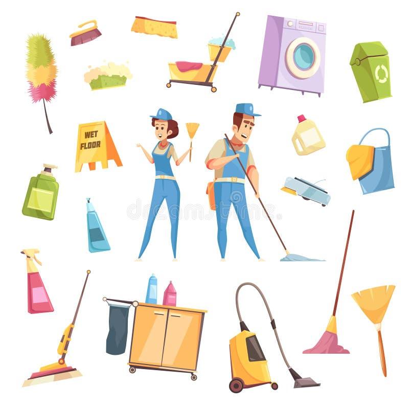 Καθαρίζοντας εικονίδια υπηρεσιών καθορισμένα απεικόνιση αποθεμάτων
