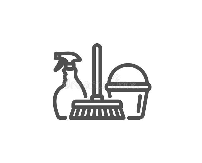 Καθαρίζοντας εικονίδιο υπηρεσιών Ψεκασμός, κάδος και σφουγγαρίστρα απεικόνιση αποθεμάτων