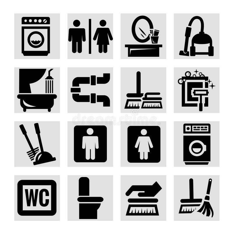 Καθαρίζοντας εικονίδια καθορισμένα ελεύθερη απεικόνιση δικαιώματος