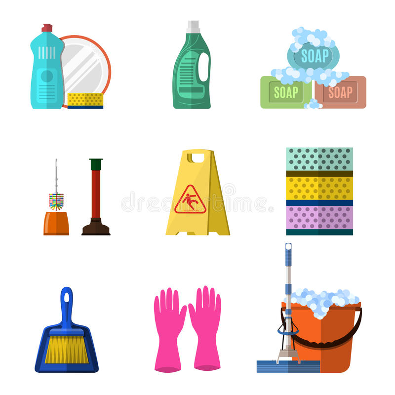 Καθαρίζοντας εικονίδια που τίθενται με το σαπούνι και τα γάντια σφουγγαριστρών απεικόνιση αποθεμάτων