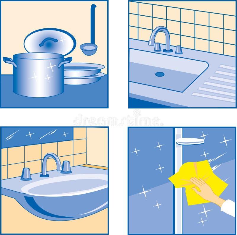 Καθαρίζοντας εικονίδια σπιτιών διανυσματική απεικόνιση