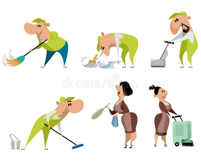 Καθαρίζοντας εργαζόμενοι στο λευκό ελεύθερη απεικόνιση δικαιώματος