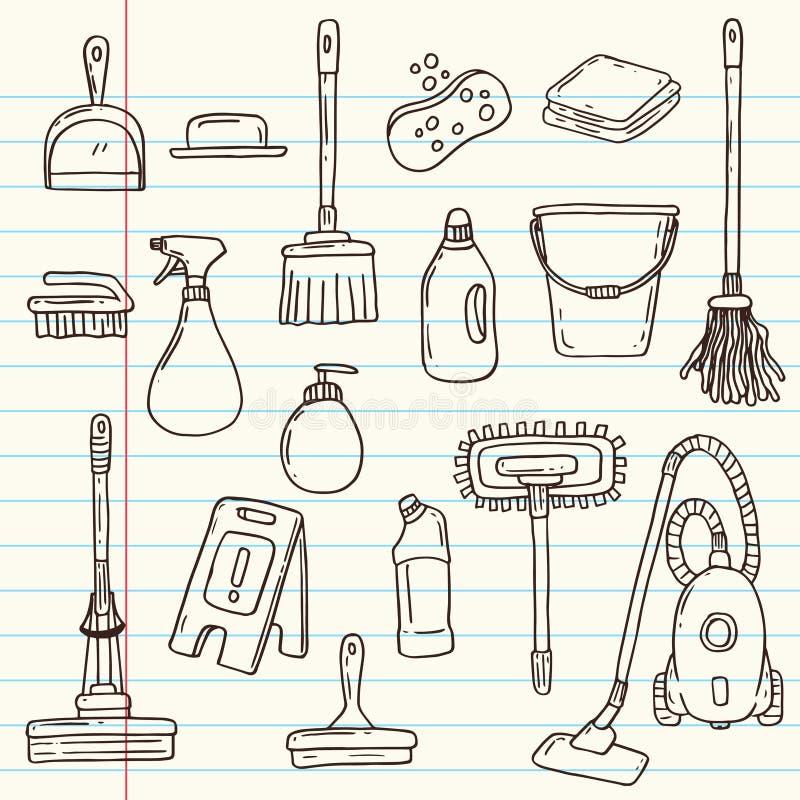 Καθαρίζοντας εργαλεία Doodle ελεύθερη απεικόνιση δικαιώματος