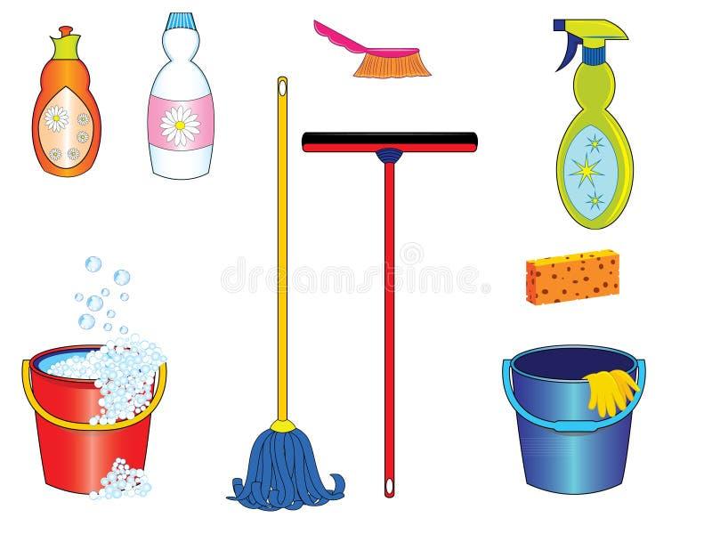Καθαρίζοντας εργαλεία ελεύθερη απεικόνιση δικαιώματος