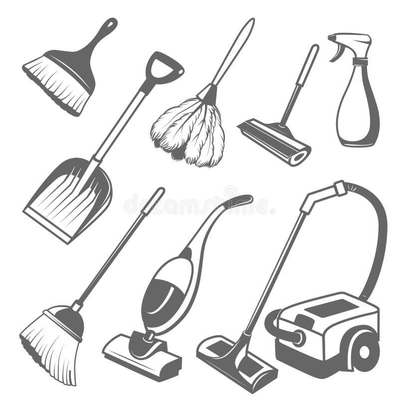 Καθαρίζοντας εργαλεία διανυσματική απεικόνιση