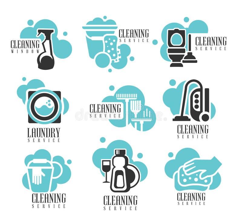 Καθαρίζοντας ετικέτες μίσθωσης υπηρεσιών σπιτιών και γραφείων καθορισμένες, πρότυπα λογότυπων για την επαγγελματική βοήθεια καθαρ απεικόνιση αποθεμάτων