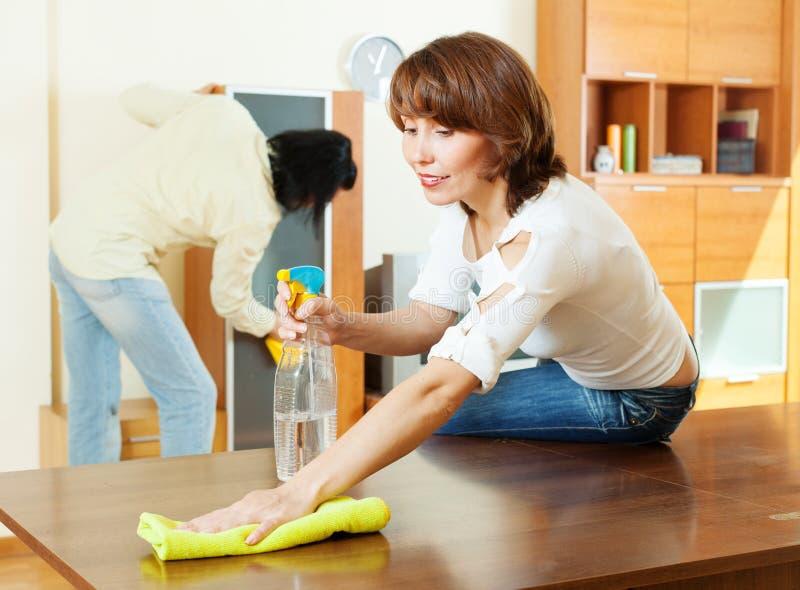 Καθαρίζοντας καθιστικό ζεύγους στοκ φωτογραφίες με δικαίωμα ελεύθερης χρήσης
