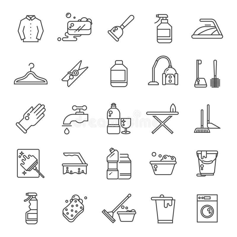 Καθαρίζοντας και πλένοντας σπίτι, διανυσματικά εικονίδια περιλήψεων πλυντηρίων Αντισηπτικά σύμβολα γραμμών υπηρεσιών ελεύθερη απεικόνιση δικαιώματος