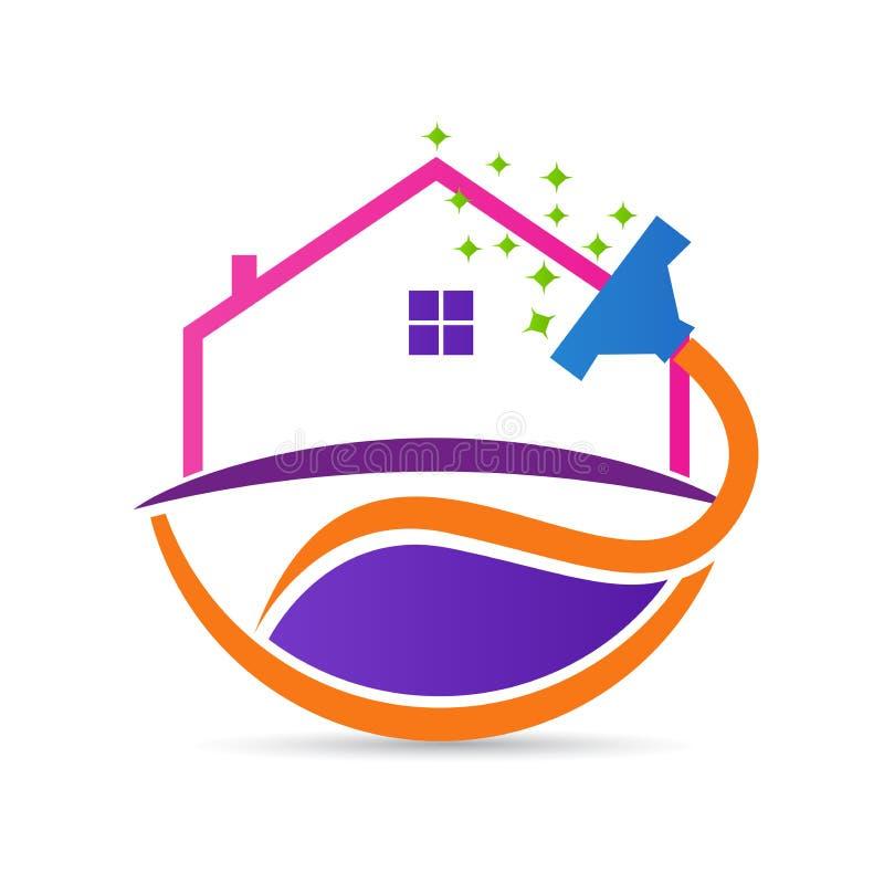 Καθαρίζοντας λογότυπο υπηρεσιών ανακαίνισης σπιτιών διανυσματική απεικόνιση
