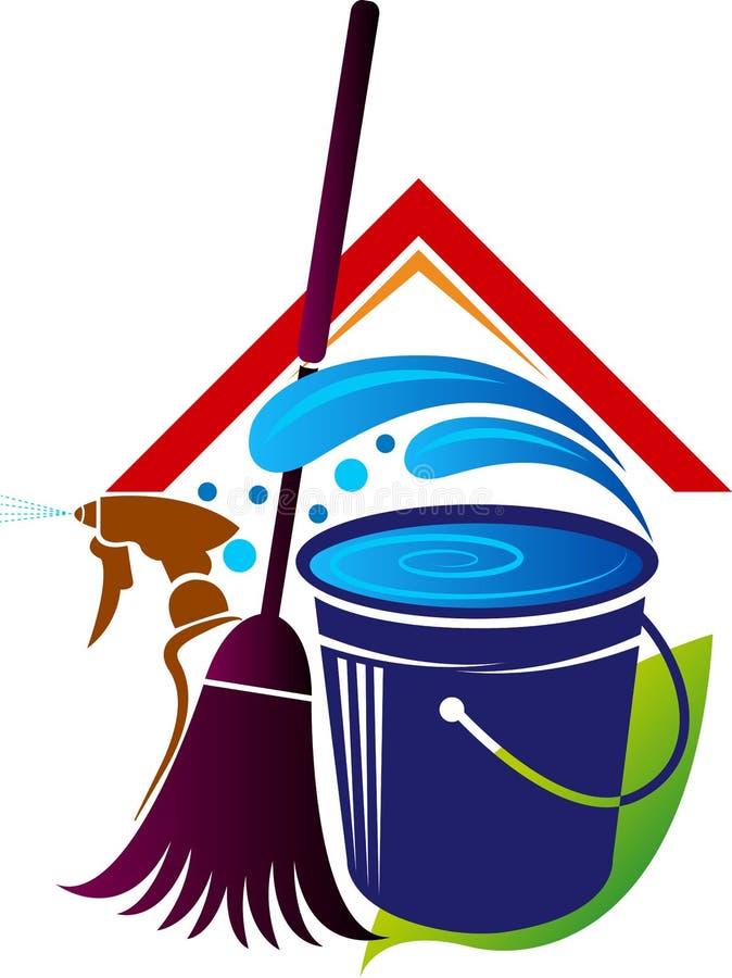Καθαρίζοντας λογότυπο σπιτιών διανυσματική απεικόνιση