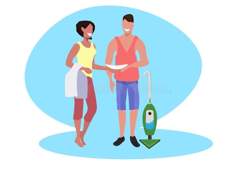 Καθαρίζοντας πάτωμα ανδρών με το ευτυχές αρσενικό έννοιας οικιακών και οικογένειας οικογενειακών ζευγών πιάτων σκουπίσματος γυναι διανυσματική απεικόνιση