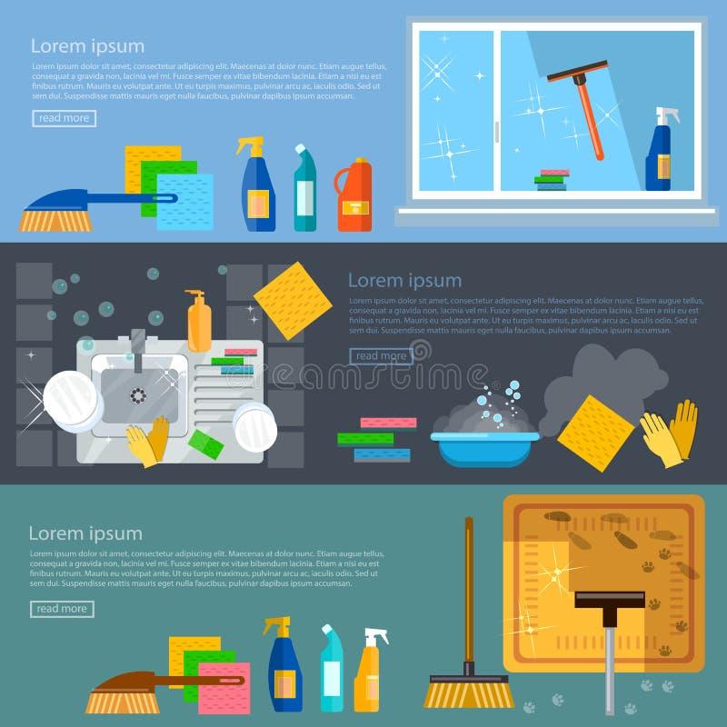 Καθαρίζοντας παράθυρα εγχώριας καθαρίζοντας πλύσης εμβλημάτων υπηρεσιών απεικόνιση αποθεμάτων