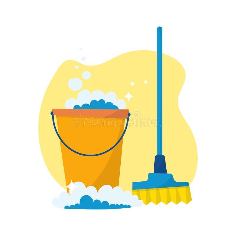 Καθαρίζοντας προμήθειες υπηρεσιών, καθαριστικά εμπορευματοκιβώτια και μπουκάλια Vec ελεύθερη απεικόνιση δικαιώματος
