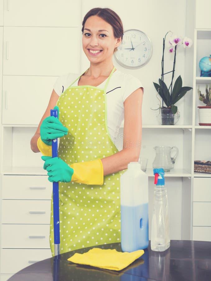 Καθαρίζοντας σπίτι γυναικών στοκ εικόνα