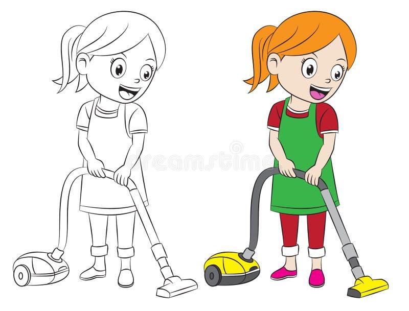 Καθαρίζοντας σπίτι κοριτσιών κινούμενων σχεδίων που χρησιμοποιεί την ηλεκτρική σκούπα απεικόνιση αποθεμάτων