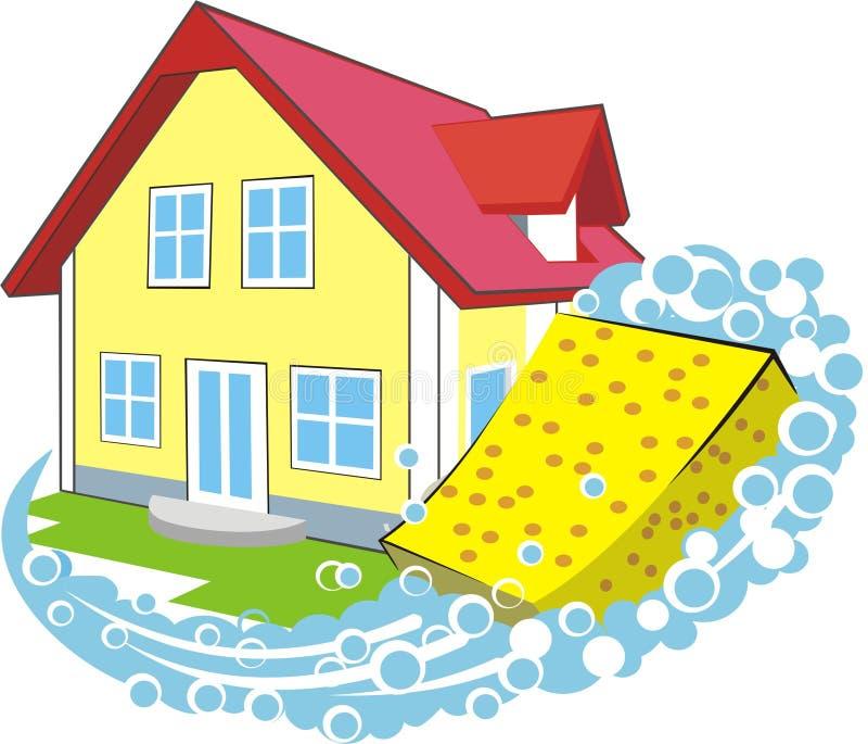 καθαρίζοντας σπίτι διανυσματική απεικόνιση