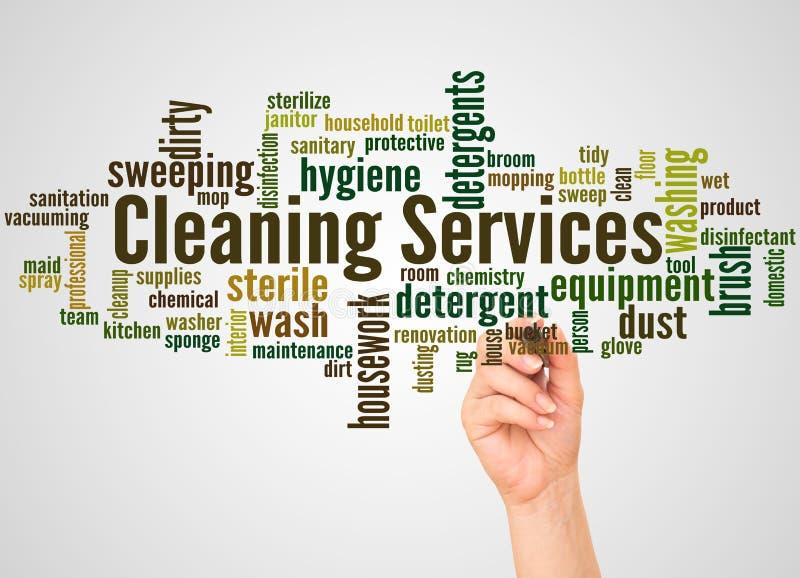 Καθαρίζοντας σύννεφο και χέρι λέξης υπηρεσιών με την έννοια δεικτών στοκ φωτογραφία με δικαίωμα ελεύθερης χρήσης