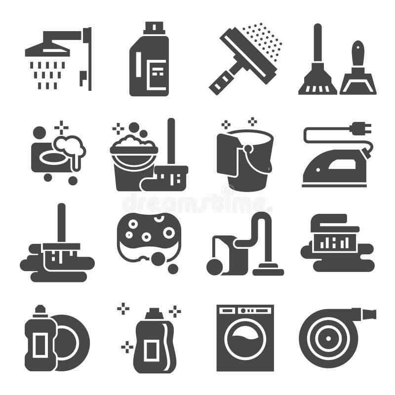 Καθαρίζοντας τα γκρίζα εικονίδια καθορισμένα Σημάδια πλυντηρίων, σφουγγαριών και ηλεκτρικών σκουπών μηχανή που καλύπτονται στενή  ελεύθερη απεικόνιση δικαιώματος