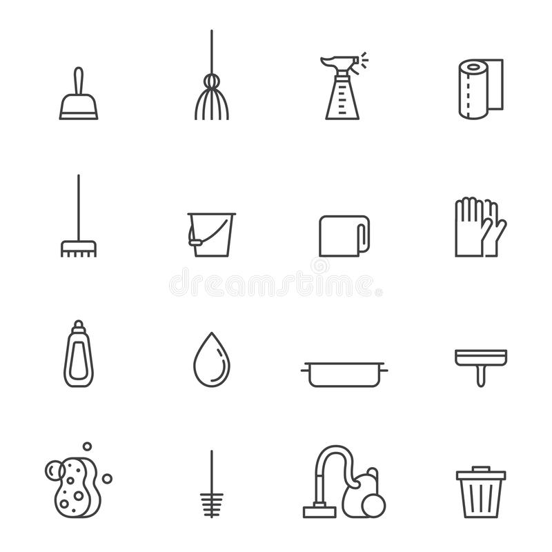 Καθαρίζοντας τα γκρίζα διανυσματικά εικονίδια περιλήψεων καθορισμένα σύγχρονο minimalistic σχέδιο διανυσματική απεικόνιση