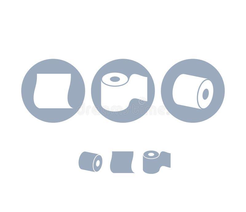 καθαρίζοντας τουαλέτα προϊόντων εγγράφου βασικής υγιεινής Σύνολο εικονιδίων απεικόνιση αποθεμάτων