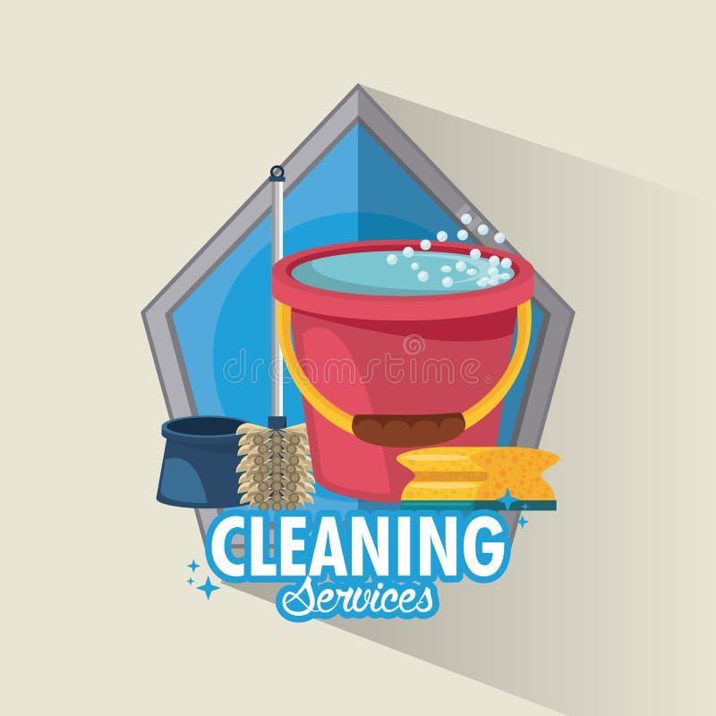 Καθαρίζοντας υπηρεσία και οικοκυρική διανυσματική απεικόνιση