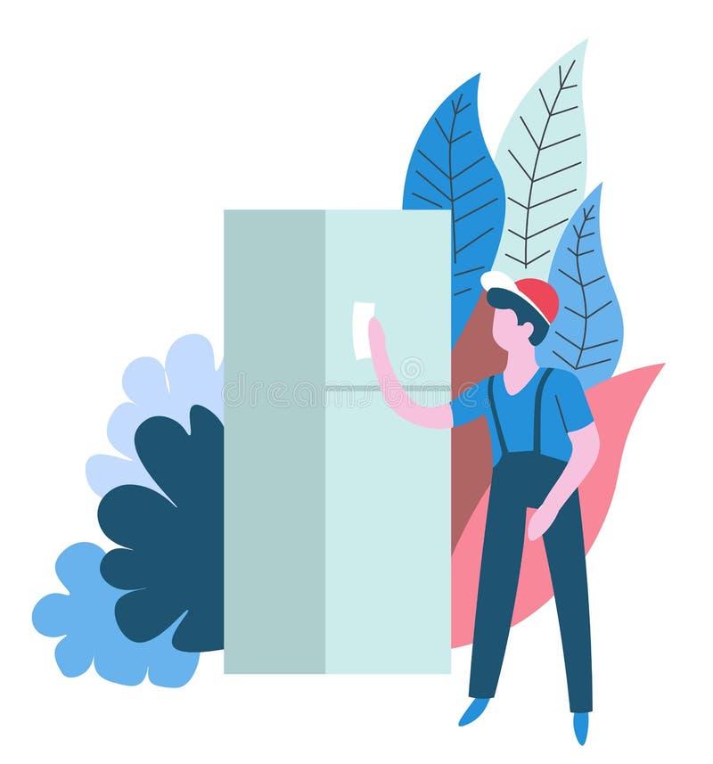 Καθαρίζοντας υπηρεσιών απομονωμένο οικοκυρική αφηρημένο εικονίδιο ψυγείων εργαζομένων σκουπίζοντας ελεύθερη απεικόνιση δικαιώματος