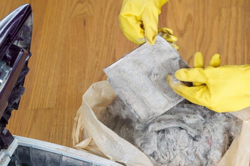 Καθαρίζοντας φίλτρο ηλεκτρικών σκουπών στοκ εικόνες