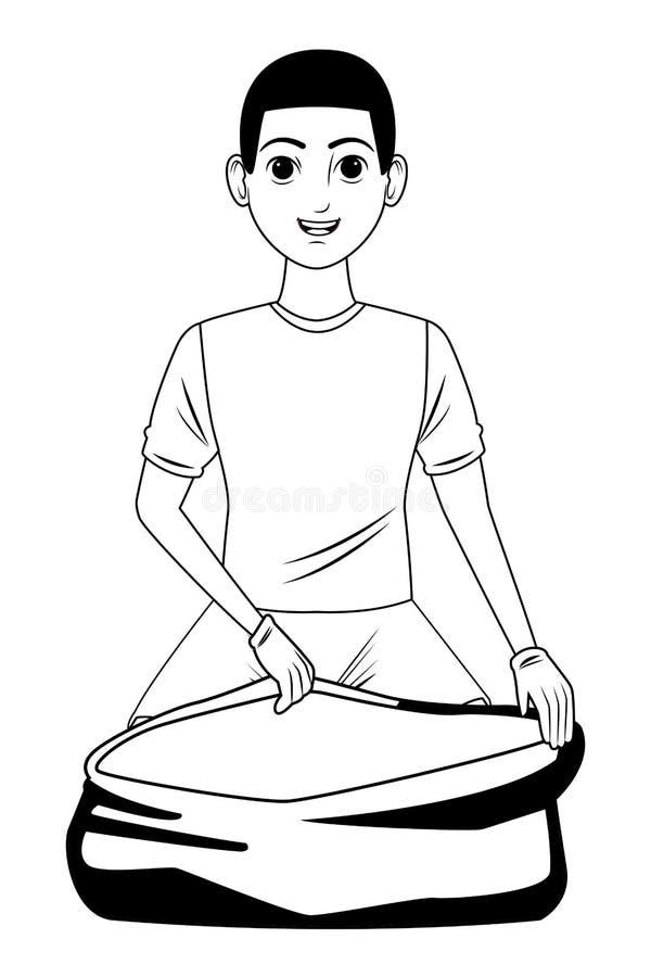 Καθαρίζοντας χαρακτήρας κινουμένων σχεδίων ειδώλων προσώπων υπηρεσιών γραπτός διανυσματική απεικόνιση