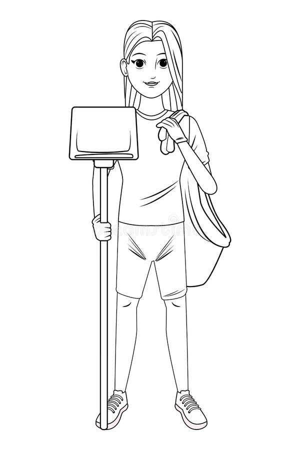 Καθαρίζοντας χαρακτήρας κινουμένων σχεδίων ειδώλων προσώπων υπηρεσιών γραπτός ελεύθερη απεικόνιση δικαιώματος