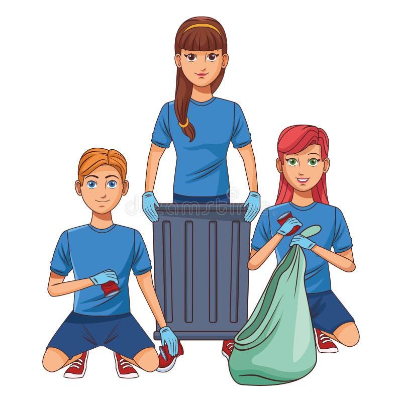 Καθαρίζοντας χαρακτήρας κινουμένων σχεδίων ειδώλων προσώπων υπηρεσιών διανυσματική απεικόνιση