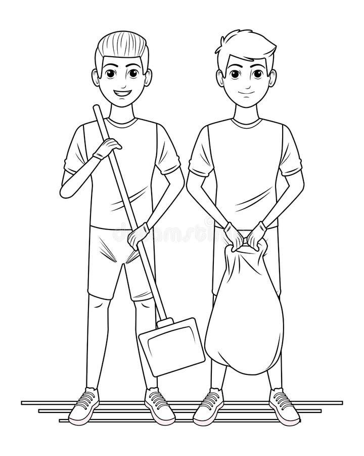 Καθαρίζοντας χαρακτήρας κινουμένων σχεδίων ειδώλων προσώπων υπηρεσιών σε γραπτό απεικόνιση αποθεμάτων