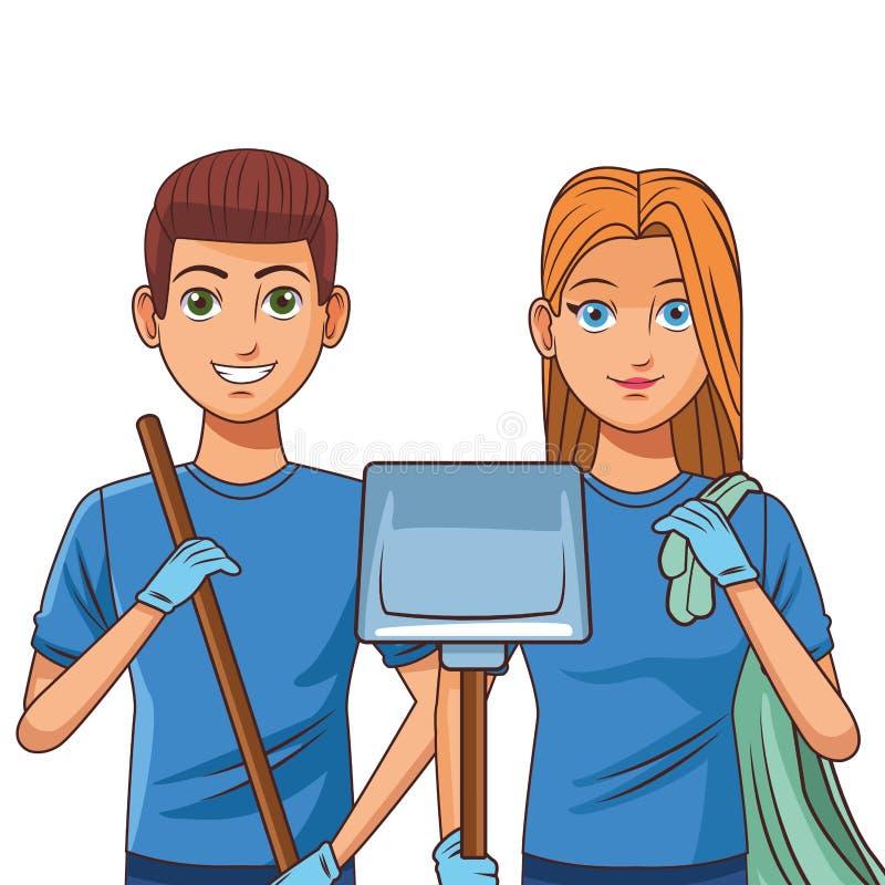 Καθαρίζοντας χαρακτήρας κινουμένων σχεδίων ειδώλων προσώπων υπηρεσιών απεικόνιση αποθεμάτων