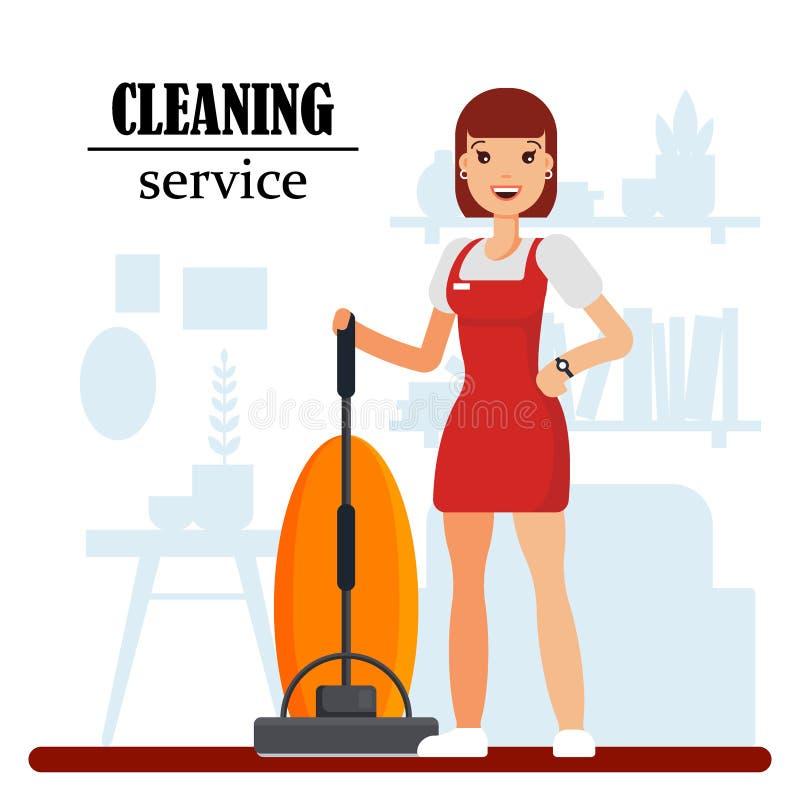 Καθαρίζοντας χαρακτήρας προσωπικού υπηρεσιών με την ηλεκτρική σκούπα Καθαρισμός νοικοκυρών στο σπίτι, εργαζόμενος γυναικών σε ομο απεικόνιση αποθεμάτων