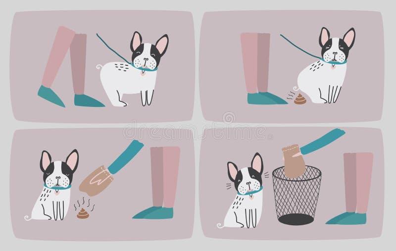 Καθαρίστε μετά από το σκυλί σας Σύνολο διαδοχικών εικόνων κινούμενων σχεδίων με το κουτάβι και τον ιδιοκτήτη του που καθαρίζουν ε απεικόνιση αποθεμάτων