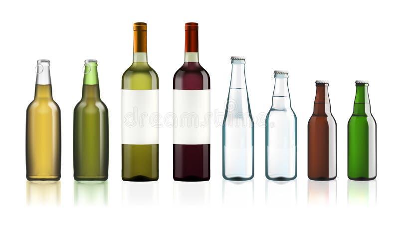 Καθαρίστε τα μπουκάλια γυαλιού νερού που απομονώνονται στο λευκό απεικόνιση αποθεμάτων