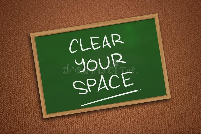 Καθαρίστε τη διαστημική, κινητήρια έννοια αποσπασμάτων λέξεών σας στοκ εικόνα
