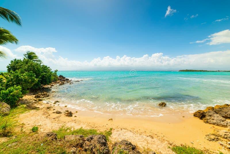 Καθαρίστε το νερό και το μπλε ουρανό Bas du Fort στην παραλία στη Γουαδελούπη στοκ εικόνες με δικαίωμα ελεύθερης χρήσης