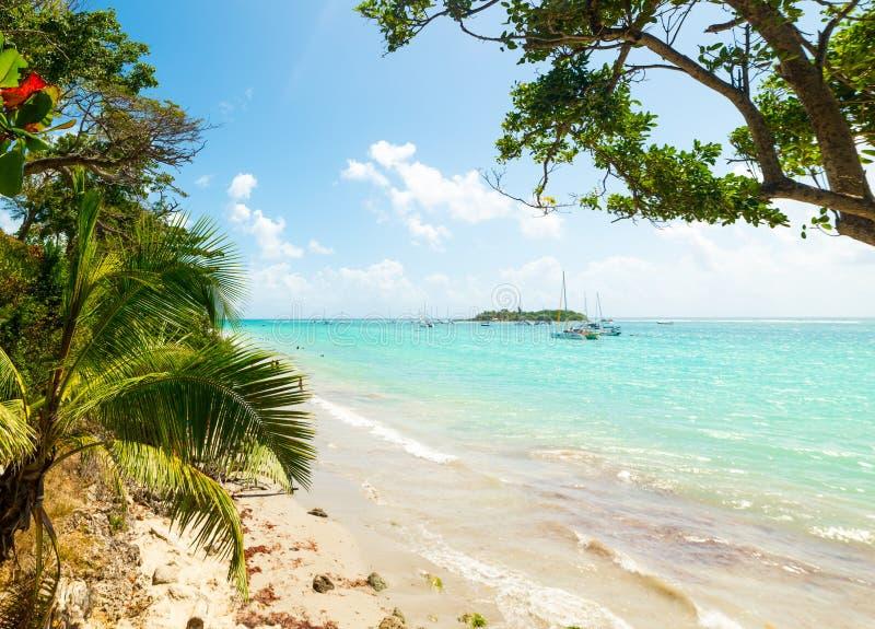 Καθαρίστε το νερό στη ζωηρόχρωμη ακτή Λα Datcha στοκ φωτογραφίες