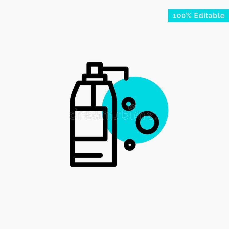 Καθαρισμός, απορρυπαντικό, διανυσματικό εικονίδιο σημείου κυριώτερων κύκλων προϊόντων τυρκουάζ διανυσματική απεικόνιση