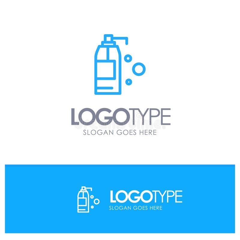 Καθαρισμός, απορρυπαντικό, μπλε λογότυπο περιλήψεων προϊόντων με τη θέση για το tagline απεικόνιση αποθεμάτων