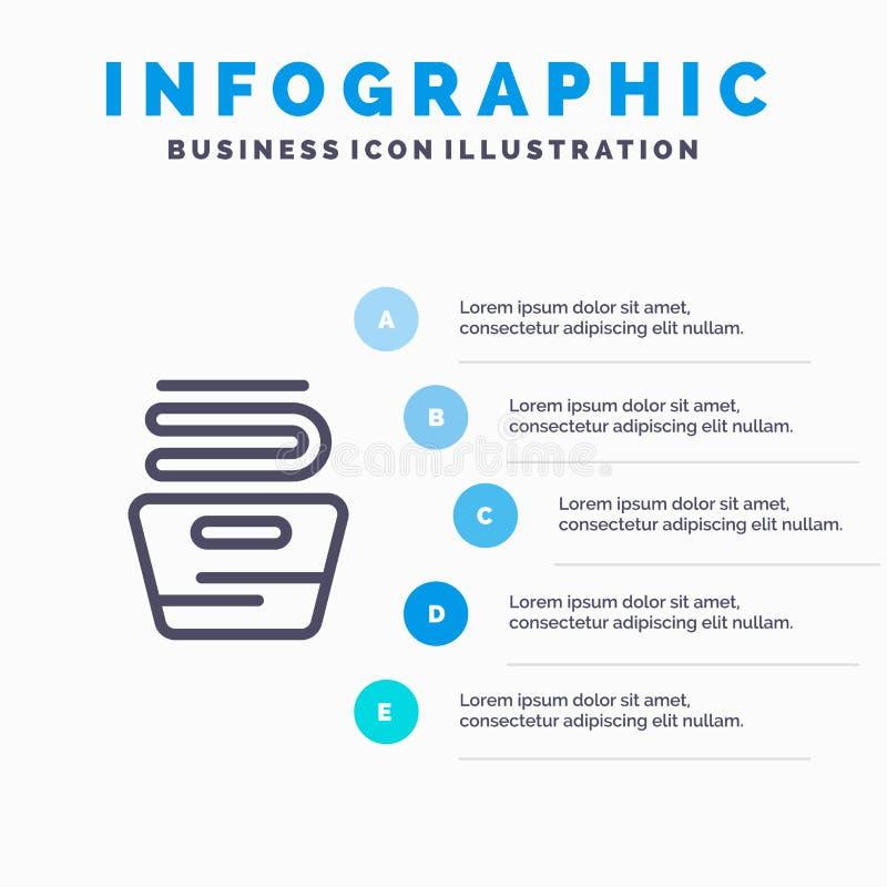 Καθαρισμός, ενδύματα, οικοκυρική, πλένοντας εικονίδιο γραμμών με το υπόβαθρο infographics παρουσίασης 5 βημάτων διανυσματική απεικόνιση