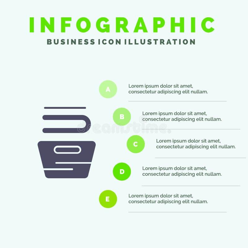 Καθαρισμός, ενδύματα, οικοκυρική, πλένοντας στερεό εικονίδιο Infographics 5 υπόβαθρο παρουσίασης βημάτων ελεύθερη απεικόνιση δικαιώματος
