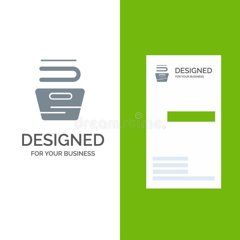 Καθαρισμός, ενδύματα, οικοκυρική, σχέδιο λογότυπων πλυσίματος γκρίζο και πρότυπο επαγγελματικών καρτών ελεύθερη απεικόνιση δικαιώματος